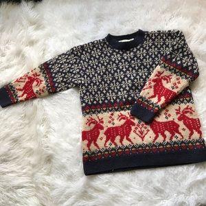 1990's Eddie Bauer Classic Reindeer Ski Sweater